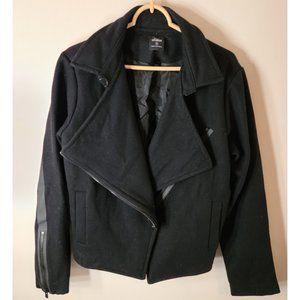 Kate Spade Saturday XL Black Wool Moto Style Coat